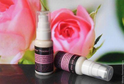 """Крем натуральный """"Розовый шелк"""" - белый,антивозрастная косметика,крем для лица"""
