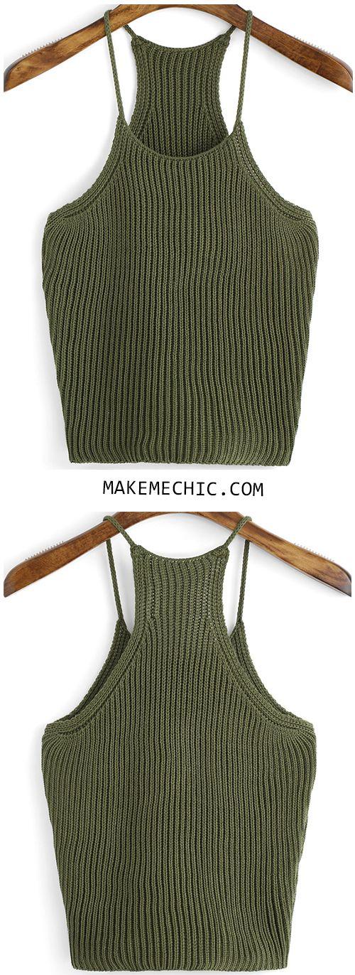 Army Green Spaghetti Strap Knit Cami Top