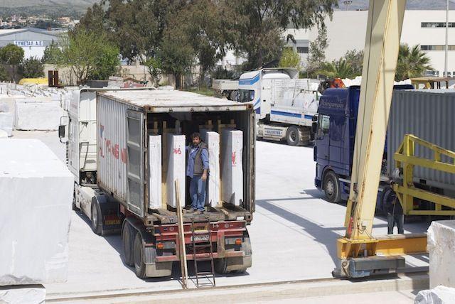 White Marble Of Panagias (Kavala Marble) by Mertika Marble LTD #SemiWhite #Marble #carrara , slabs container, slabs packet, slabs packet, slabs package, marble factory, Athens, Greece, manufacturer, industry