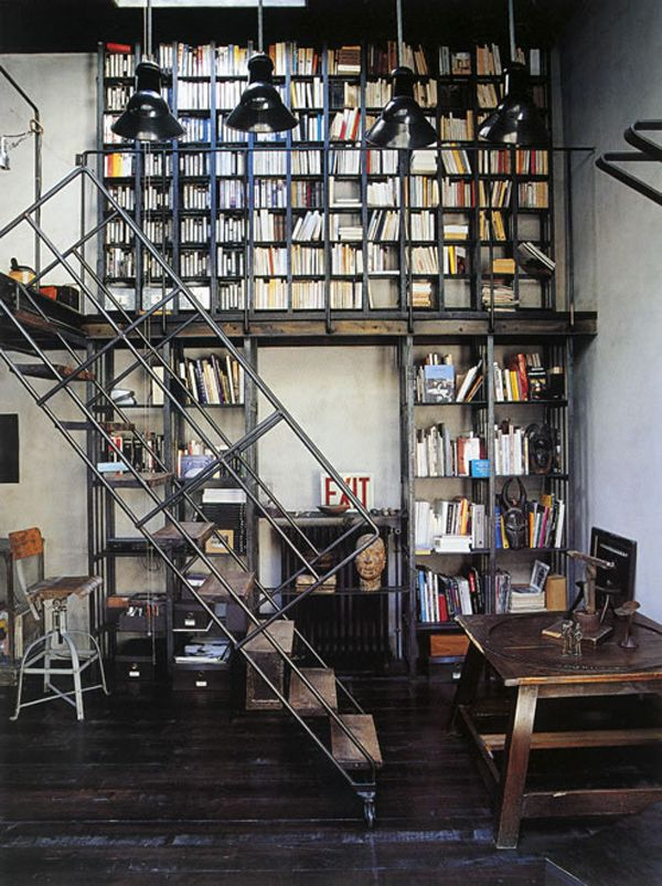 Metal, wood and books galore. Heaven.: Bookshelves, Dreams Libraries, Home Libraries, Stairs, Interiors, Industrial Chic, Book Shelves, Loft Spaces, Industrial Style