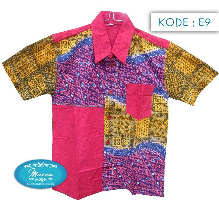 Batik Short-sleeved Shirt for kids  Kode E9-14  Lebar : 43cm Panjang : 55cm Harga : Rp 110.000 www.marvastore.com