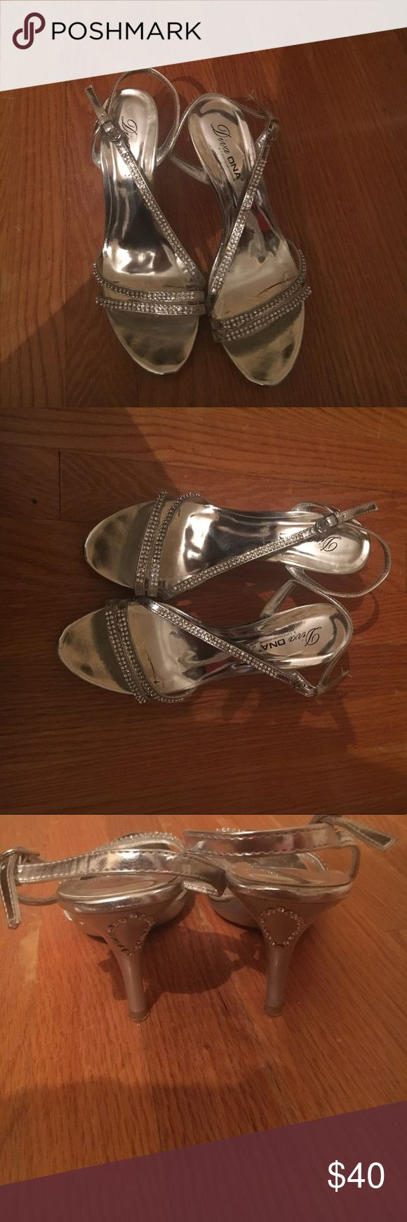 Silver Rhinestone heels strappy evening shoe Worn once to prom. Took off after pictures. Only one rhinestone missing on the way end, can't even tell. Great evening heels for special occasions. diva dna Shoes Heels