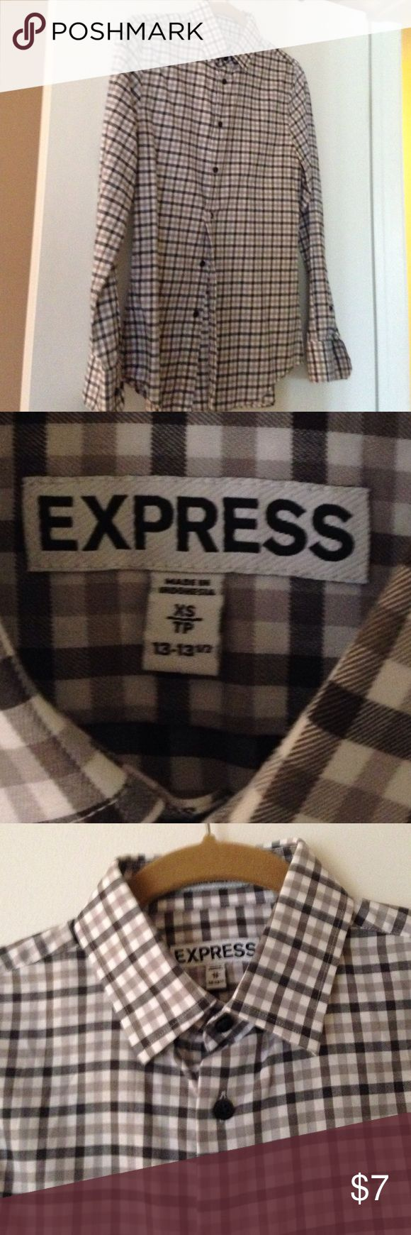 Button down check shirt Express extra small men's shirt. Approx size 4 for ladies. 100% cotton. Grey and alive check. Barely worn. Express Tops Button Down Shirts