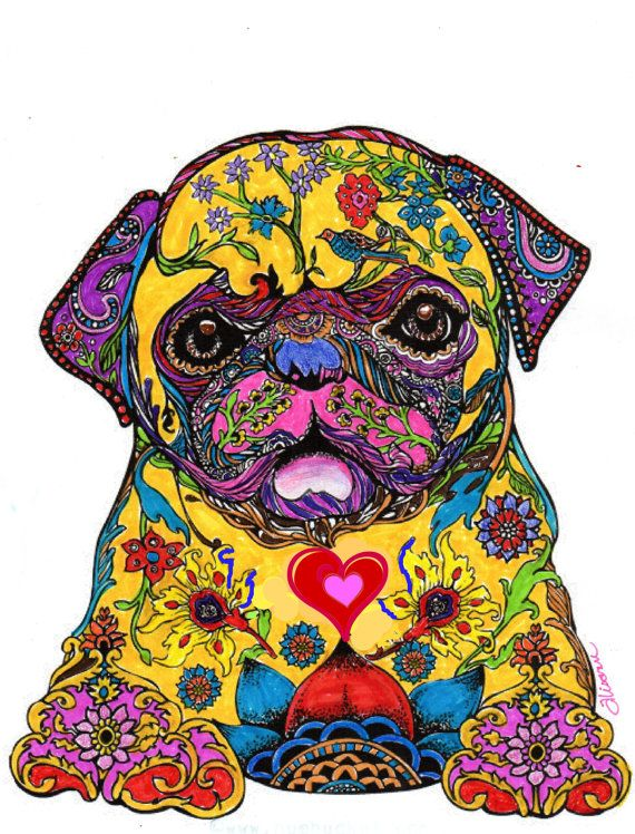 Pug Pop Art  Hand Colored  Dog Art Print  Love by AbeesArtStudio