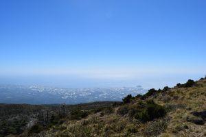 Hiking Mt. Hallasan is a must if you visit Jeju Island! View of Seogwipo from Mt. Hallasan, Jeju Island, South Korea #travel #hiking #outdoors #sun #view