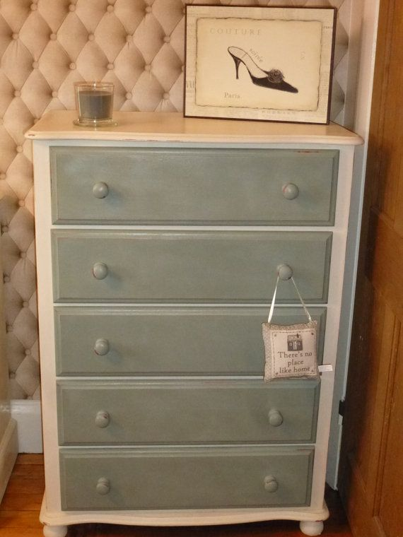 Upcycled Shabby Chic Chest of Drawers finished with Duck Egg Blue