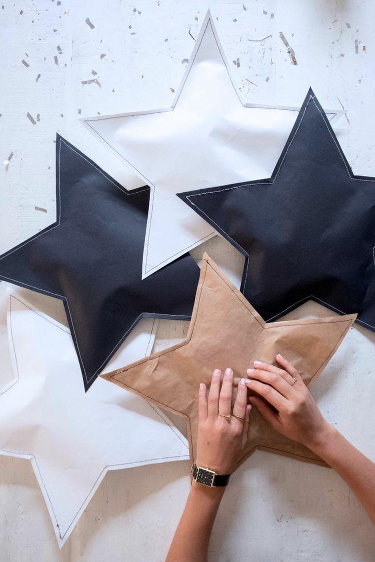 sterne basteln kindern brotpapier nähen kleben geschenk verpacken