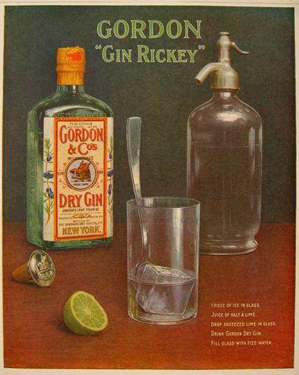 "1917 Gordon's Gin ""Gin Rickey"" Ad ~ Vintage Seltzer Bottle"
