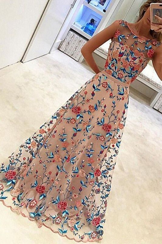 Women Pink Floral Embroidery Overlay Mesh Sleeveless Zipper Sexy Maxi Dress – Orange, S
