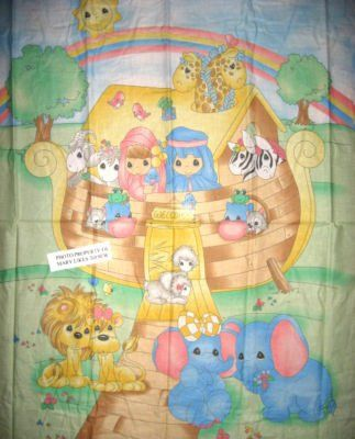 Crib Quilt Fabric Panel Precious Moments Noah's Ark to sew