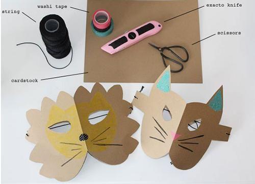 manualidades niños mascaras cartulina leon gato2 Rápidas caretas de animales para niños