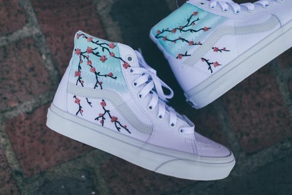 Cherry Blossom Vans Sk8-Hi | Etsy in