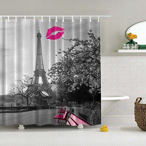 Eanshome Dekorative Pink French Kiss und Eiffelturm in Paris Wasserdichter Duschvorhang Textil ca.180 x 180cm