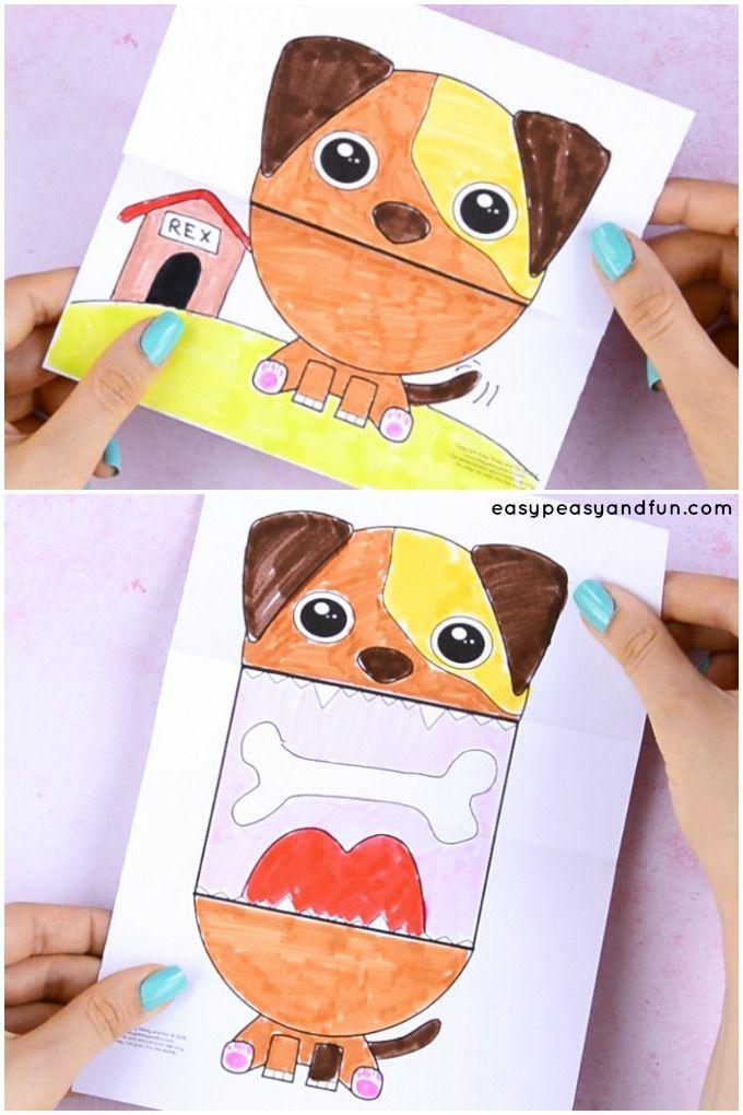 Cool artisanat de petit chien pour les enfants à faire. Imprimez le modèle de bricolage pour chien, couleur i …