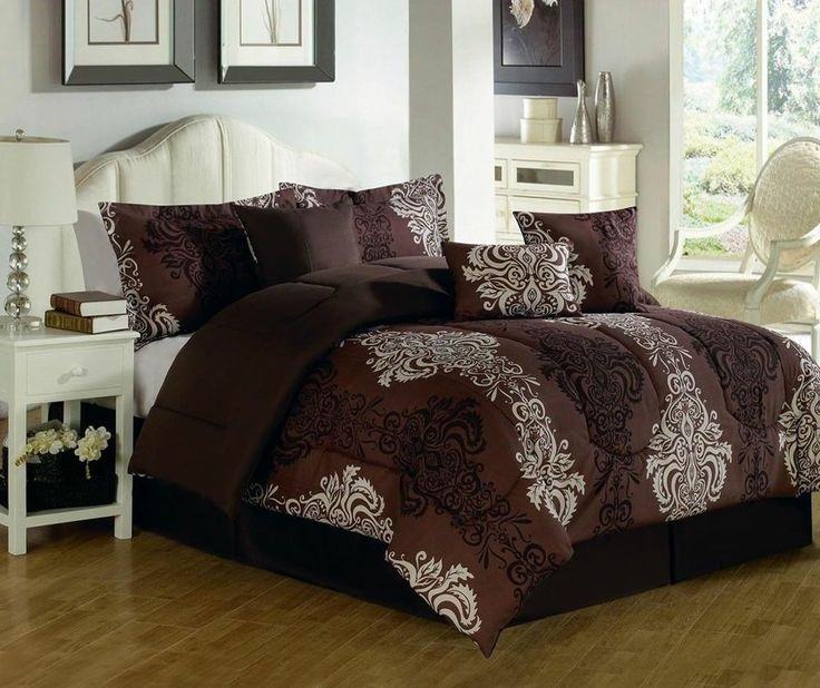 7 Piece Black and White Embroidered Queen Size Brown Comforter Set