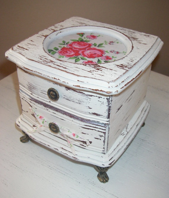 Small Jewelry Box Vintage Handkerchief Off by ABackyardCreation, $28.00