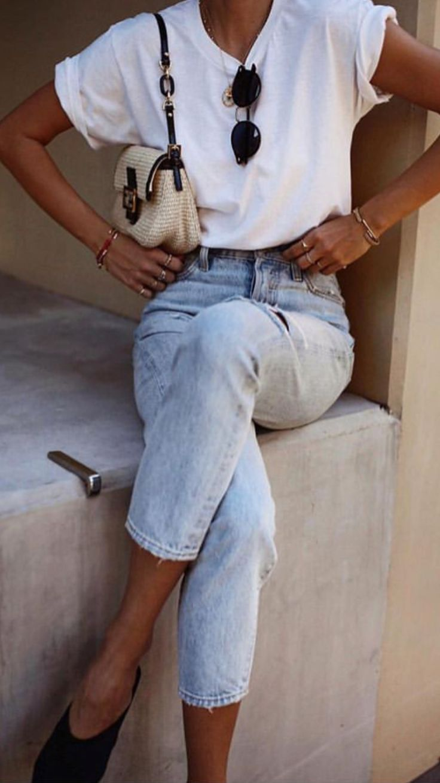 minimalistische Womens Frühling Stil, Vintage Jeans Stil, minimalistische Damenmode