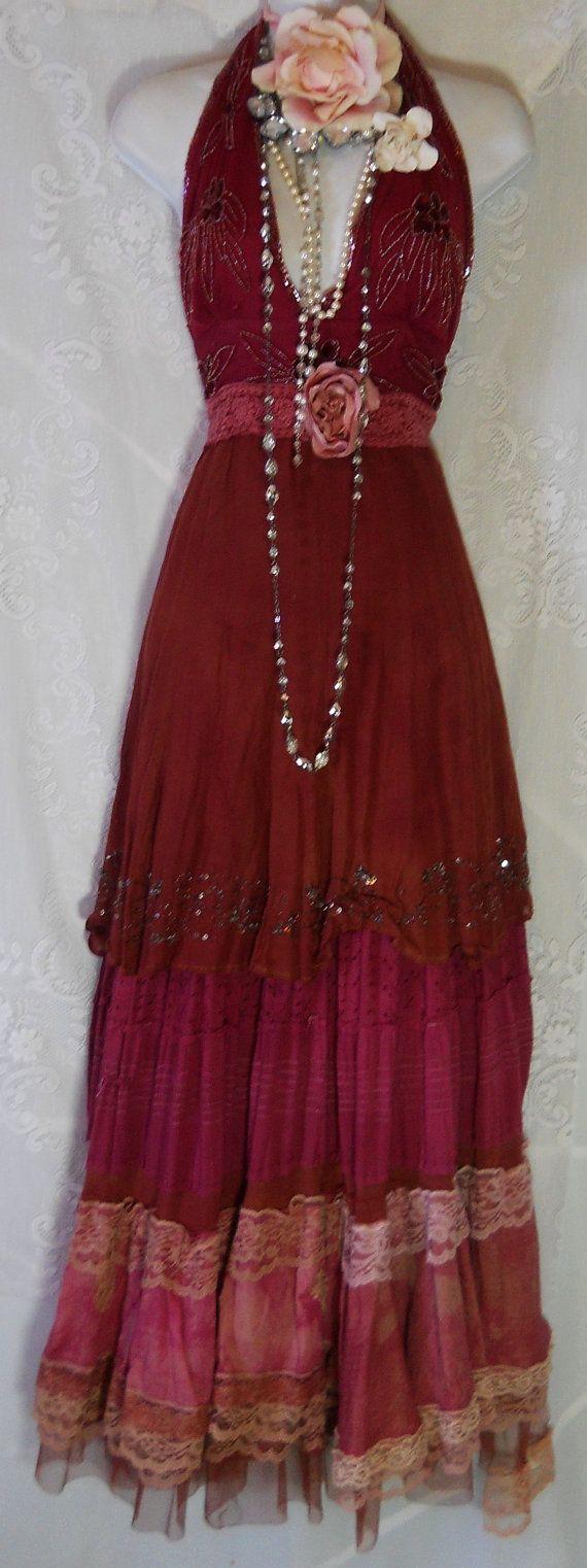 Beaded gypsy dress maxi rust pink ruffles silk lace prairie bohemian tribal medium by vintage opulence on Etsy..