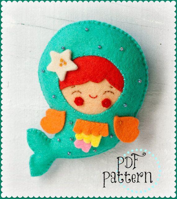 PDF. Little mermaid. Plush Doll Pattern, Softie Pattern, Soft felt Toy Pattern. Brooch.