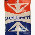 Pakkauksen voimistelijahahmo suunniteltiin miellyttämään nuorekasta miestä. Petterit-tuotepakkaus 1950-60-luvulta.