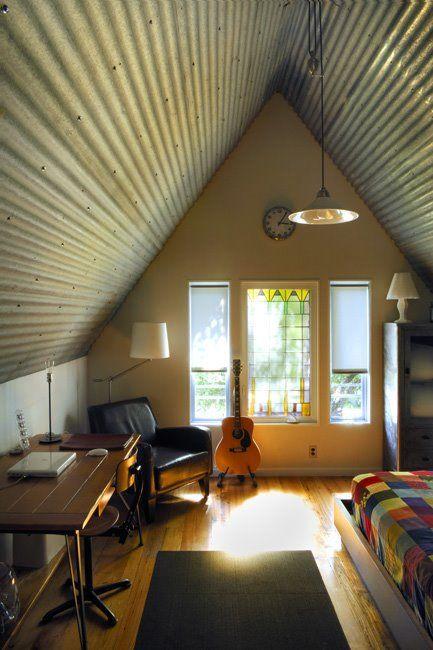 Corrugated metal ceiling.