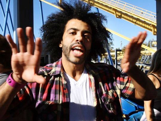 """On their day off, the cast and crew of """"Hamilton"""", one of Broadway's hottest shows, spent the afternoon at Six Flags Great Adventure and sampled many of the park's thrill rides. Daveed Diggs who plays Thomas Jefferson, reacts after riding Nitro. (Photo: Bob Bielk/Staff photographer)"""
