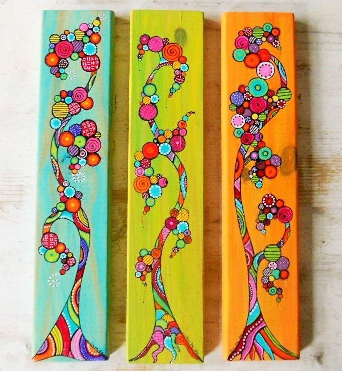 Les 25 meilleures id es de la cat gorie arbres peints sur pinterest peintur - Decoration bois a peindre ...