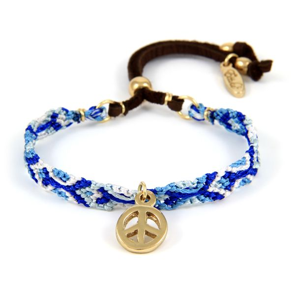 Be My Friendship Bracelet Multi Blue with gold Peace Charm
