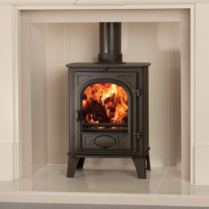 I like the pale tiles against the dark stove. Nice contrast.  Stovax Stockton 6