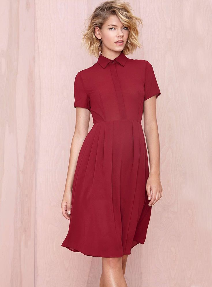 Red Short Sleeve Lapel Zipper Pleated Dress