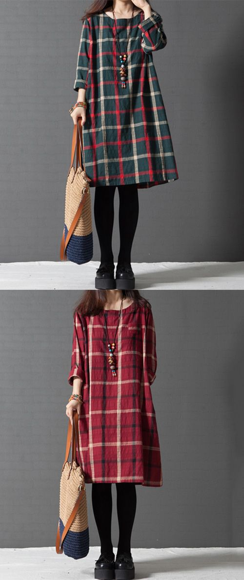 Women's Casual/Cute/Plus Sizes Check Contrast Color Inelastic Long Sleeve Knee-length Loose Dress