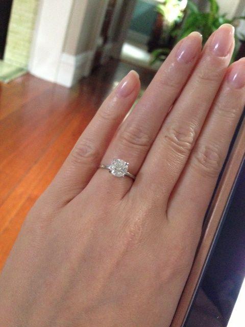 Thin Band Engagement Ring Round Brilliant Diamond