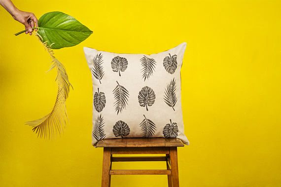 MONSTERA & PALM LEAVES -  Cushion cover