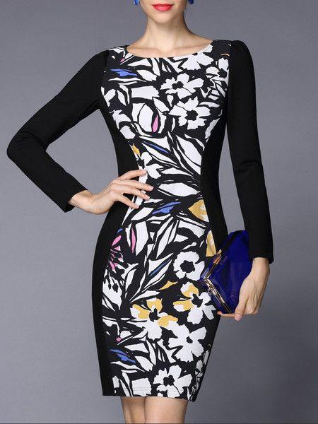 Black Floral-print Cotton-blend Mini Dress for #chic #woman