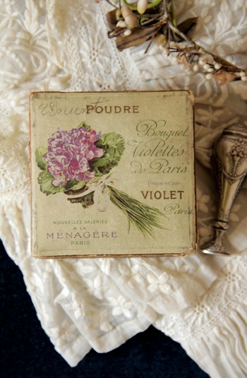 MY SISTER M LOVED VIOLETS SHE WOULD HAVE ENJOYED THIS LITTLE BOX OF French violet powder.