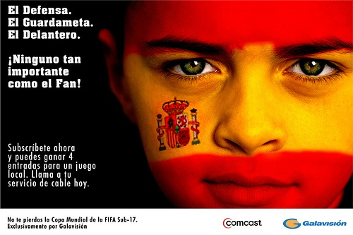 Comcast-Galavision FIFA-U17 Poster aimed at children of subscribers. The poster was created with multiple team faces aimed at specific neighborhoods. It was meant to be a collectible for young soccer fans and tied with subscription purchase marketing in the form of door hangers.