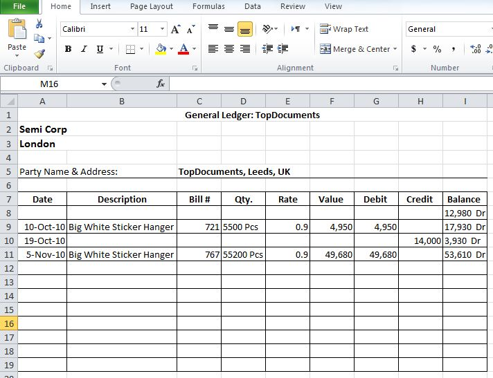 Free Ledger Template 7 Accounting Printable General Forms Rental