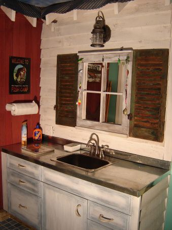 Man Cave Fishing Bathroom In Basement Floor Tile That