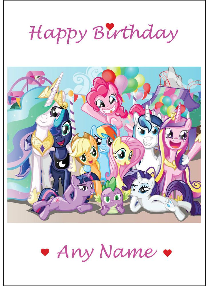 Personalised My Little Pony Birthday Card Any Name Large