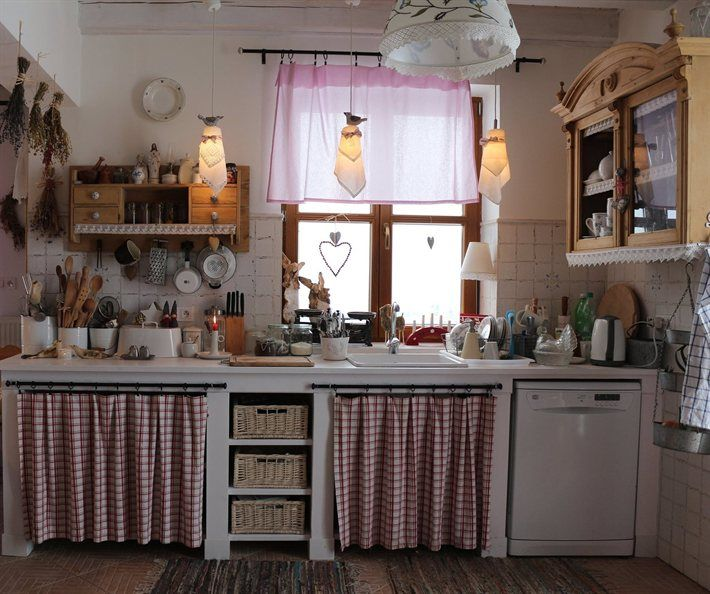 Country Red Kitchen Curtains: 91 Best More Cabinet Curtains Images On Pinterest