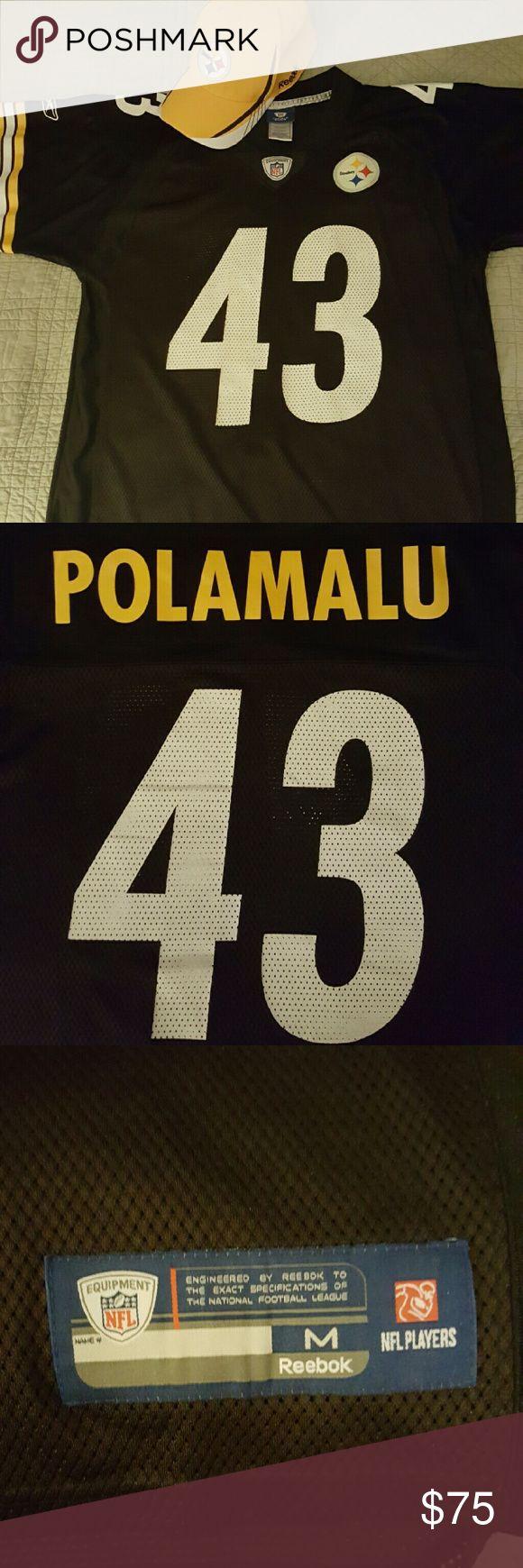 NFL Pittsburgh Steelers Jersey Polamalu #43 offical NFL jersey size M. Includes offical NFL Steerlers baseball hat. No sign of wear. No trades. NFL Shirts