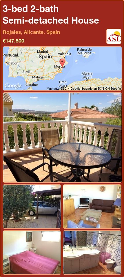 3-bed 2-bath Semi-detached House in Rojales, Alicante, Spain ►€147,500 #PropertyForSaleInSpain