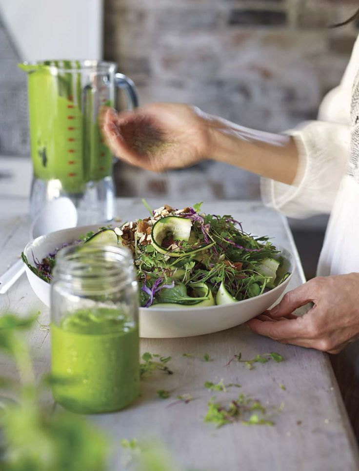 Vegan Green Queen Salad and Dressing from Tess Masters' Blender Girl.    Protein:  Scant almonds; sunflower, hemp, or pumpkin seeds.  If you want to increase the protein content, include rinsed, canned garbanzo beans or pressed, chilled extra firm tofu cubes.