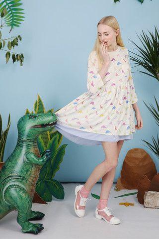 Dinosaur Smock Dress Multicolour - THE WHITEPEPPER