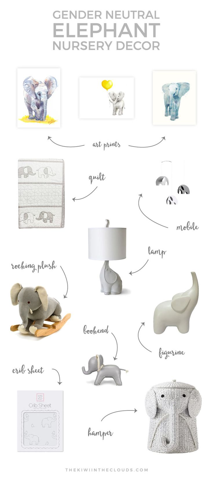 If you're planning a neutral elephant themed nursery for baby, then you'll want…