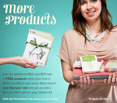 Hostess and Join Stampin' Up! Offers - April 15th to May 30th.  offer open to Australia via www.alisatilsner.com #stampinup