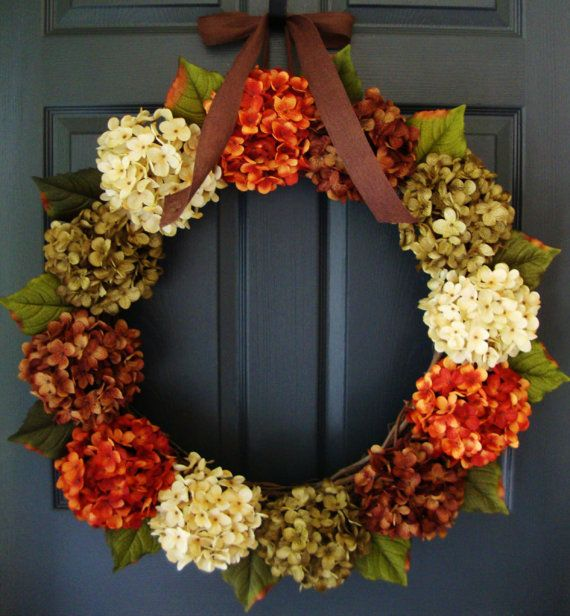 Fall Hydrangea Wreath - Fall Entryway Decor - Summer Wreath Ideas - Fall Porch Decor - Complementary UV Resistant Wreath Coating Upgrade