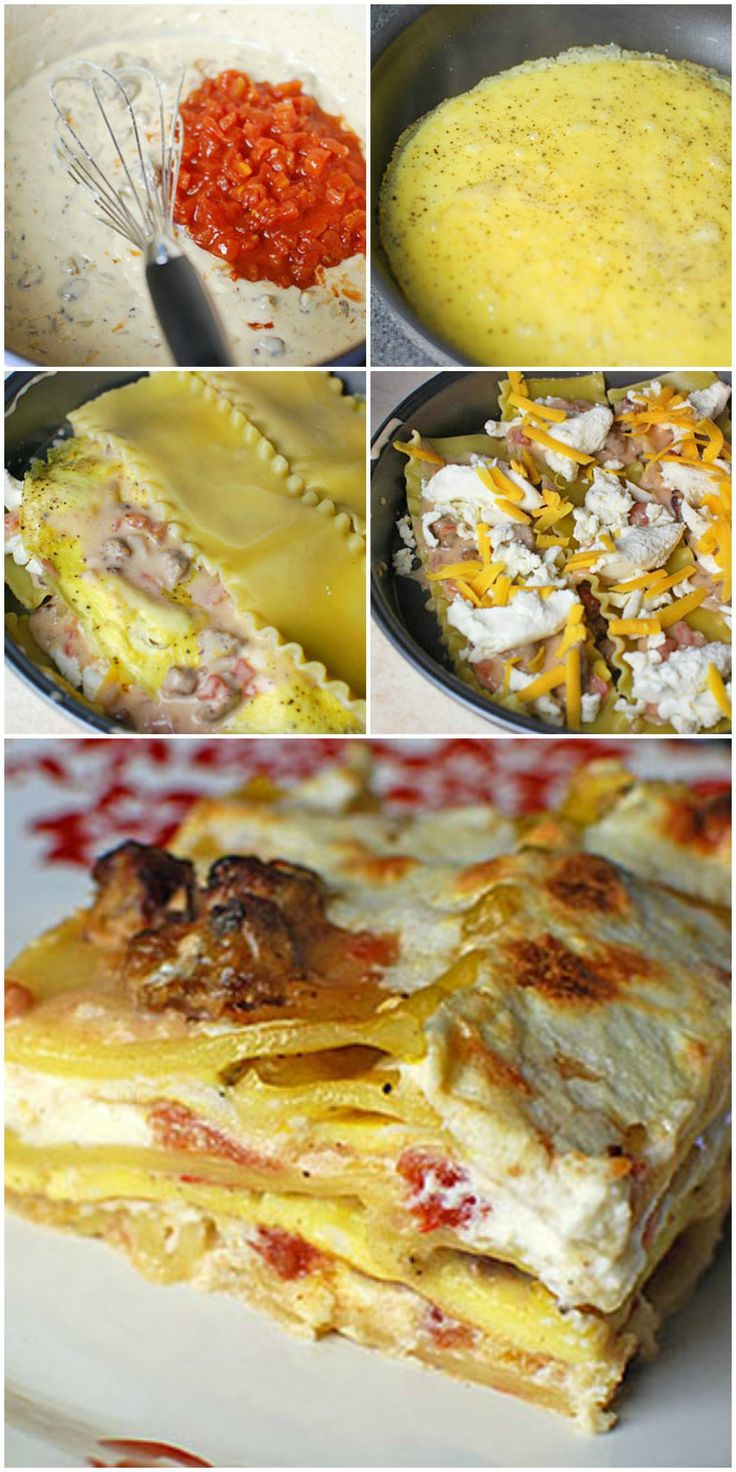 Breakfast Lasagna Recipe ~ Layers upon layers of pasta, egg, and a tasty breakfast sausage gravy