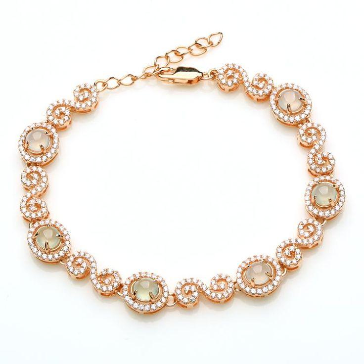 Настоящее стерлингового серебра 925 инкрустированные браслет нефрита мода покрытие из розового золота браслет свадебные украшения подарок для женщины с ограниченной