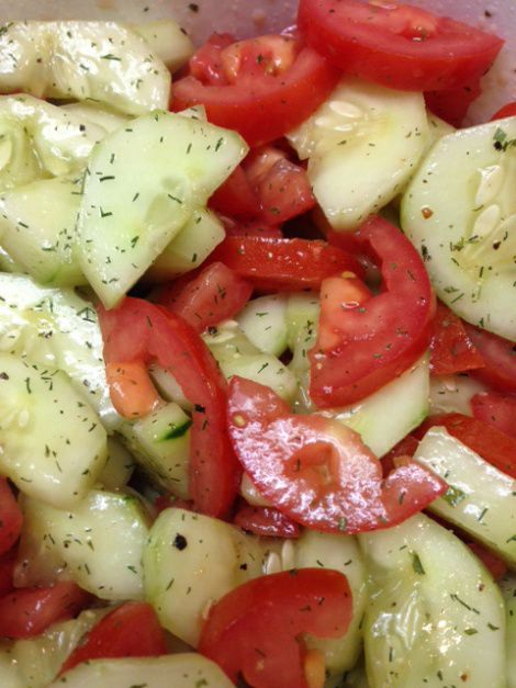So simple and so delicious!! You will need: 2 cucumbers-peeled and sliced or quartered 5 Roma tomatoes-quartered 2 tablespoons extra virgin olive oil 1 tablespoons rice vinegar Dill seasoning and s…